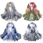 Women Flower Floral Print Ethric Style Chiffon Scarf Soft Wrap Long Beach Shawl