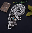 "30"" Silver Strong Twisted Feather Biker Trucker Keychain Jean Purse Wallet Chain"