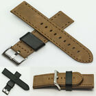 Genuine Suede Leather Watch Strap Band Steel Buckle Tan Black 20mm 22mm mens new