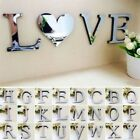 1PC Wall Sticker DIY Mirror Surface Decal 3D A-Z Letter Alphabet Art Home Decor