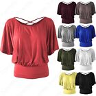 NEW CROSS BACK BATWING TOP WOMENS JERSEY BLOUSE LADIES RUFFLE SLEEVE SUMMER TOP