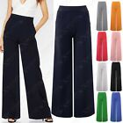NEW LADIES CLASSIC PALAZZO FLARE POCKETS TROUSERS WOMENS FLARED LOOK LONG PANTS