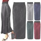New Ladies Women Pleated Satin Skirts 3/4 Length Long Classic Maxi Look Pull Up