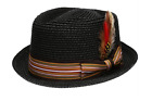 Fedora Pork Pie Straw Hat w/ Striped Band and Removable Feather Summer Cool Hat