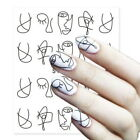 3D Abstract Nail Salon Black Sticker Manicure Nail Art Water Transfer Decals New