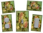 PINK ROSES ON GREEN SHABBY CHIC HOME DECOR LIGHT SWITCH PLATES AND OUTLETS