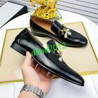 High-end Real Leather Men Bee Embroidery Metal Buckle Formal Casual Shoes