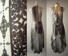 Внешний вид - Patchwork Print Black White Gypsy Goth Sheer Long Maxi Jacket 276 mv Vest S M L