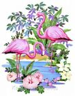 Colorful Pink Flamingos Fabric Quilt Block Multi Sizes Free Shipping World Wide
