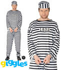 Adult Mens Convict Costume Robber Prisoner Police Stag Party Fancy Dress Outfit