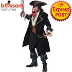 CA144 Deluxe Pirate Captain Of The Caribbean Captain Jack Sparrow Mens Costume