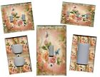 PINK AND PEACH ROSES SHABBY CHIC HOME DECOR LIGHT SWITCH PLATES AND OUTLETS