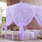 Lace 4 Corners Post Bed Canopy Purple Mosquito Netting For Twin Full Queen Size image