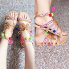 2018 Women Bohemia Beads Sandals Rome Gladiator Flat Shoes P