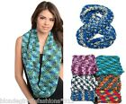Multi Color Sweater Crochet Acrylic Winter Knit Endless Infinity Scarf
