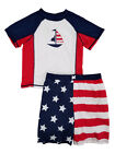 Little Boys US Flag Patriotic American Rash Guard & Swim Trunks Set