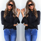 US Women Solid Color Necktie Long Sleeve T Shirt Summer Loose Tops Casual Blouse