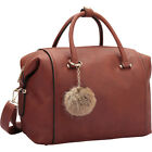 Dasein Faux Leather Satchel with PomPom 3 Colors