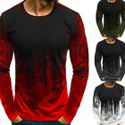 Men Fashion Gradient Long-Sleeve Basic T-Shirts Casual Fitness Gym T-Shirt Tee