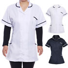 Womens Ladies Tunic Nurses Uniforms Work Wear Medical Healthcare, White Navy