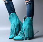 Retro Boho Womens Genuine Leather Tassle Rivet Fashion Ankle Boots Pull On Shoes