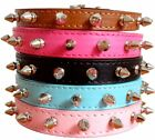 New Smooth Leather Spiked Studded Dog Collars Puppy Pet Dog Collars S M L XL