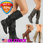 Women Retro Slip Leather Pleated Biker Boots Ladies Flats Shoes Ankle Boots US