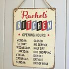Kitchen Sign Personalised Opening Hours Vintage Retro Fun Metal Sign Gift Idea