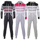 Aztec Print Hooded All In Jumpsuit Two Tone White Zip Set Lounge Suit Size  M...
