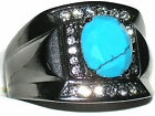 Men's Stainless Steel IP Light Black Synthetic Turquoise Ring  TK2662