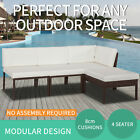4pc Outdoor Furniture Pe Wicker Modular Garden Lounge Sofa Set Patio Rattan
