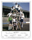*LOW PRICE* HAND SIGNED EDITION TOTTENHAM 1961 DOUBLE WINNERS x 7 SIGS (SL347)