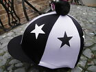 Lycra Riding Hat Silk Skull cap Cover BLACK / WHITE * STARS With OR w/o Pompom