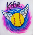 Softball Angel Airbrush Shirt - Name or Text Included