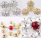 500Pcs Hollow Filigree Silver/Gold Plated Metal Flower Bead Caps 6mm Findings