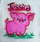 Cutest Little Pink Pig Airbrush Shirt - Name Included
