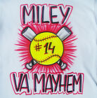 Softball and Bats Airbrush Shirt - Name, Team Name, and Number Included