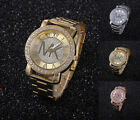 New Fashion Women Men Diamond Crystal Stainless Steel Wrist Quartz Watches image