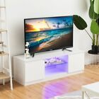 High Gloss Black TV Stand Unit Cabinet with Remote Control LED Shelves 2 Drawers