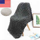 Warm Hand Chunky Knitted Blanket Thick Wool Bulky Knitting Throw For Winter US image