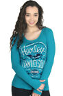 Harley-Davidson Ladies Faded Eagle w/ B&S Flames Aqua Long Sleeve Scoop T-Shirt $9.99 USD on eBay