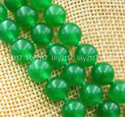 Beautiful Natural 3 Rows 6/8mm Green Jade Gemstone round Beads Necklace 17-19''