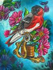 Heritage by 2 Cents Bird with Vintage Tattoo Gun and Flowers Canvas Art Print