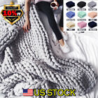 Winter Warm Wool Blanket Chunky Knit Super Giant Bulky Handmade Arm Knit Gift US image