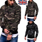UK STOCK Men's Sports Hooded Hoodies Camouflage  Printed Pullover Shirt Blouse