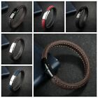Punk Style Handmade Braid Concise Leather Bracelet For Men Cuff Bangle