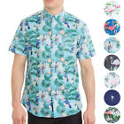 Mens Hawaiian Shirt For Mens Floral Palms Printed Casual Short Sleeve Button Up <br/> Big And Tall Bright Button Down Aloha Shirts