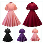Retro Women Vintage Style 50s 60s Evening Cocktail Prom Straps Solid Swing Dress
