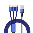 3 in 1 Multi Charging Cable Multiple USB Fast Charging Cord Type C Connector US