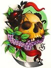 Voyeur by Siege Spider Skull with Grapes and Dagger Tattoo Framed Wall Art Print